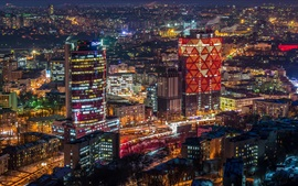 Preview wallpaper Ukraine, city night view, skyscrapers, lights