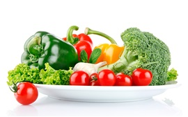 Preview wallpaper Vegetables, pepper, tomatoes, broccoli, garlic, white background