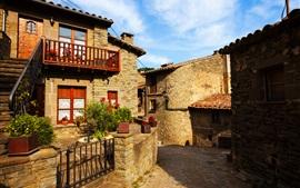Деревня, дома, улица, балкон, цветы