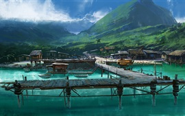 Watercolor painting, lake, pier, bridge, mountains