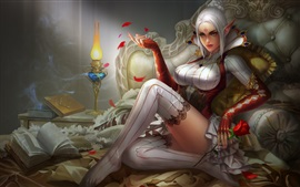 Preview wallpaper White hair fantasy girl, elf, bed, lamp, book