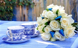Preview wallpaper White roses, tea, cups