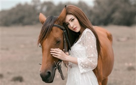 Preview wallpaper White skirt Asian girl and brown horse