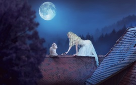 Preview wallpaper White skirt girl and cat, roof, moon, night, creative picture