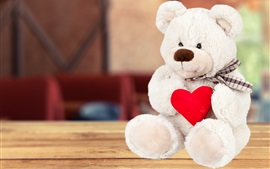 Preview wallpaper White teddy bear, red love heart