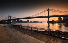 Ponte de Williamsburg, Nova York, Brooklyn, amanhecer, EUA