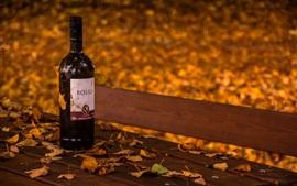 Vinho, garrafa, banco, folhas, outono