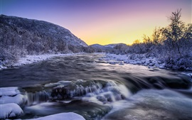 Winter, river, snow, nature landscape
