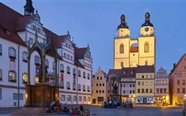 Wittenberg, antiga prefeitura, igreja, noite, praça do mercado, Alemanha