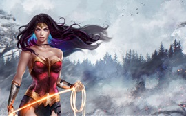 Preview wallpaper Wonder Woman, Diana, beautiful girl, DC Comics, art picture