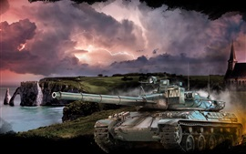 World of Tanks, tormenta, mar, nubes, rayos