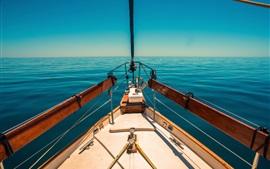 Yacht, blue sea
