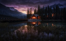 Preview wallpaper Yoho National Park, Canada, Emerald Lake, trees, house, night, lights