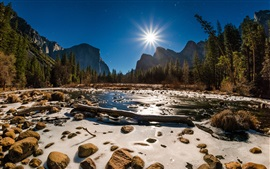 Preview wallpaper Yosemite National Park, USA, snow, stones, river, trees, sunshine, winter
