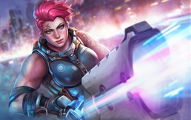 Preview wallpaper Zarya, Overwatch, armor, gun