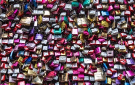 A lot of locks, colorful