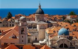 Mar Adriático, Croacia, ciudad, edificios, techo