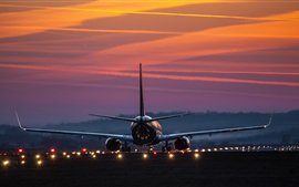 Preview wallpaper Airport, Airbus airplane rear view, lights, dawn