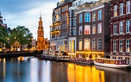 Preview wallpaper Amsterdam, Netherlands, river, buildings, lights, dusk