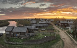 Preview wallpaper Arkhangelsk oblast, village, houses, dusk, Russia