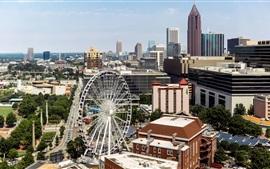 Атланта, США, центр города, здания, колесо обозрения