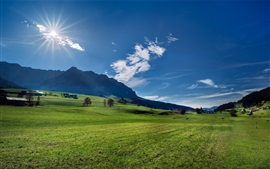 Preview wallpaper Austria, Alps, mountains, meadow, trees, sun
