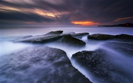 Пляж Бабадан, Бали, Индонезия, море, скалы, закат