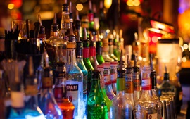 Bar, bottles, alcohol drinks