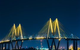 Preview wallpaper Baytown, bridge, lights, night, USA