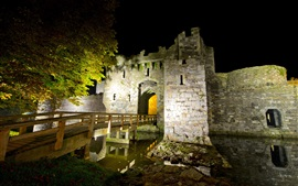 Beaumaris Castle, fortress, stones, night, North Wales, UK