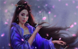 Preview wallpaper Beautiful Chinese girl, retro, long hair, art picture