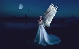 Hermosa chica ángel, alas, noche, luna