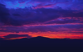 Preview wallpaper Beautiful sunset, red sky, clouds, mountains