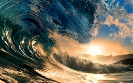Preview wallpaper Big wave, sea, sun
