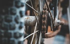 壁紙のプレビュー 自転車のホイールとチェーン、さびた
