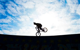 Preview wallpaper Biker, silhouette, extreme sport