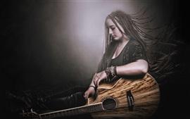 Aperçu fond d'écran Robe noire fille, tresse, guitare