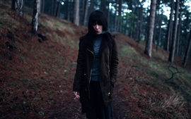 Preview wallpaper Black hair girl, cigarette, smoke, forest