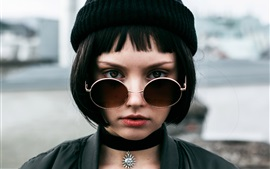 Preview wallpaper Black short hair girl, hat, glasses