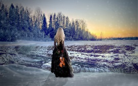 Preview wallpaper Blonde girl back view, winter, snow, violin