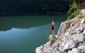Preview wallpaper Blonde girl, red skirt, lake, slope
