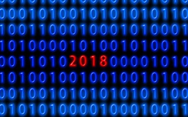 Preview wallpaper Blue binary code, red 2018 New Year