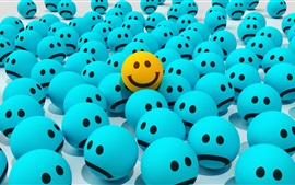 Preview wallpaper Blue sadness face, yellow smiley face, 3D