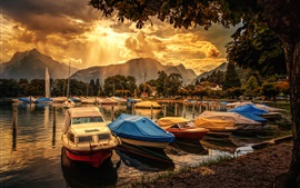 Preview wallpaper Boats, dock, clouds, trees, sun rays