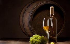 Garrafa, copo de vidro, uva, vinho, barril