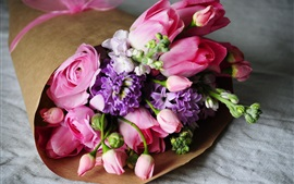 Bouquet, flowers, rose, tulip, pink