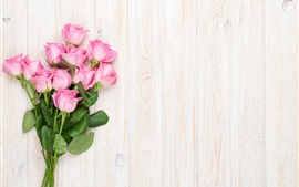 Bouquet, pink flowers, roses, wood background
