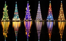 Preview wallpaper Brazil, beautiful Christmas trees, lights, river, night