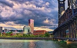 Preview wallpaper Bridge, river, city, buildings