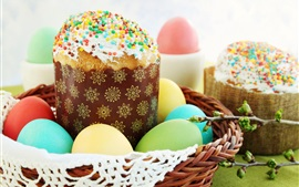 Preview wallpaper Cakes, colorful eggs, Easter, basket